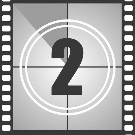 Nummer 2 uit de oude film, tel er twee af. Aftelnummer van de film. Vector illustratie EPS 10.