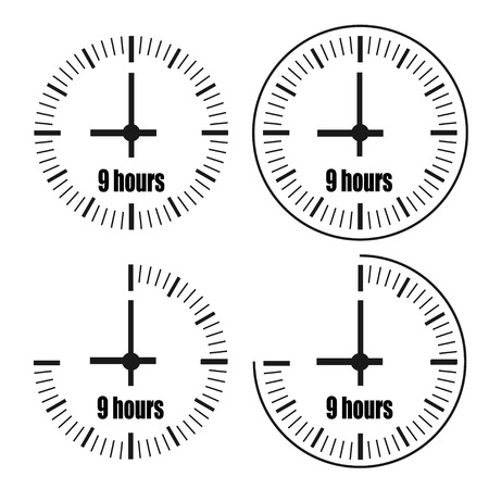 Nine Hours Clock on white background. Nine o'clock. Four options. Ilustração
