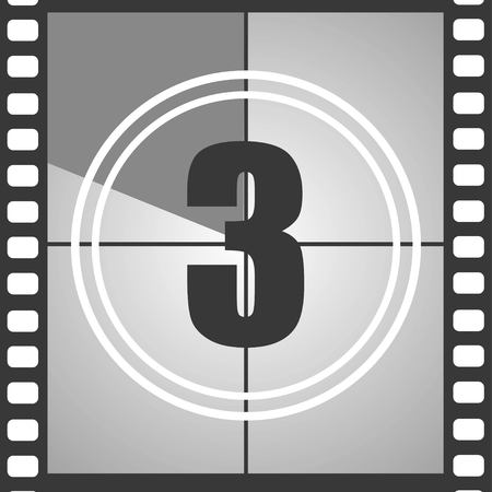 Number 3 from old movie count down three . Film countdown number. Vector illustration