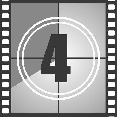 Number 4 from old movie count down, four. Film countdown number. Vector illustration