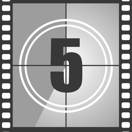 Number 4 from old movie count down, five. Film countdown number. Vector illustration Vectores