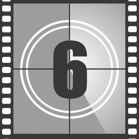 Number 6 from old movie count down, six. Film countdown number. Vector illustration Çizim