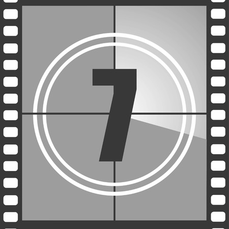 Number 7 from old movie count down, seven. Film countdown number. Vector illustration