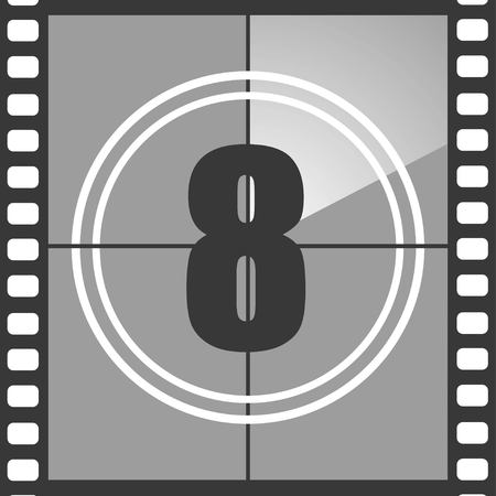 Number 8 from old movie count down, eight. Film countdown number. Vector illustration