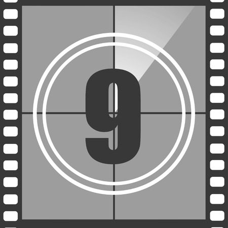 Number 9 from old movie count down, nine. Film countdown number. Vector illustration Illustration