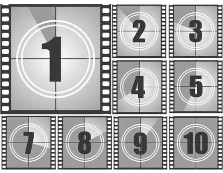 Set of numbers from old movie count down from ten to one . Film countdown numbers. Vector illustration