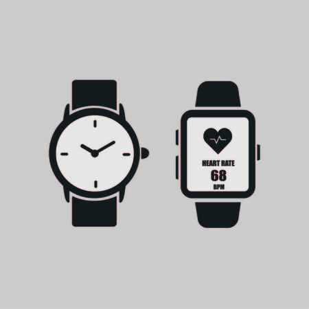 A smart clock with a picture of the heart rate on the screen and a wrist watch isolated on a gray background. Watch icon. Vector illustration