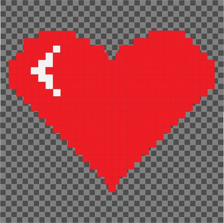 Pixel art heart. Pixel heart isolated on pixel background. St. Valentines day. Love and Valentine Illustration