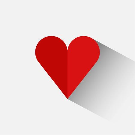 Red heart in a flat design on a white background Illustration