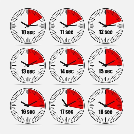 Vector illustration, increments from 10 to 18, one second interval, 3 rows and 3 columns on grey background, for business or education. Watches in flat design. Watches set 2.