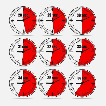 Vector illustration, increments from 28 to 36, one second interval, 3 rows and 3 columns on grey background, for business or education. Watches in flat design. Watches set 2. Vectores