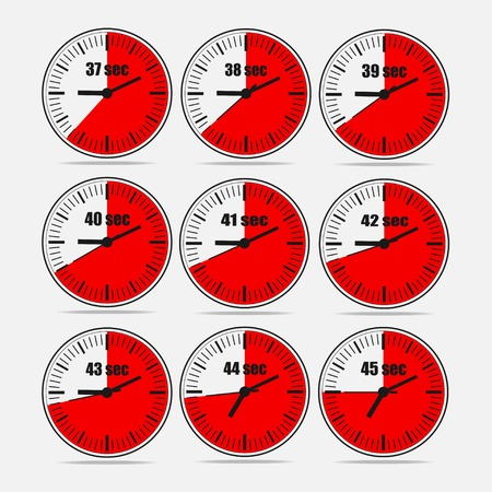Vector illustration, increments from 37 to 45, one second interval, 3 rows and 3 columns on grey background, for business or education. Watches in flat design. Watches set 2.