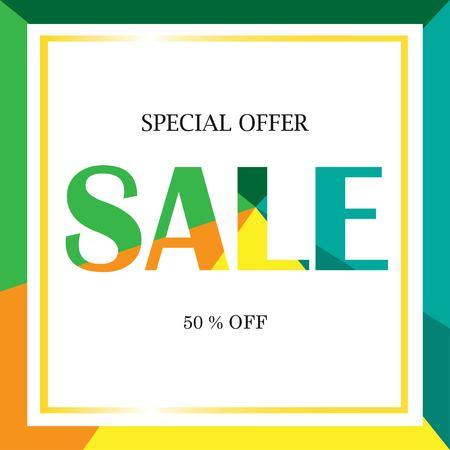 Sale Banner template design. Special offer, 50% off banner. Vector illustration Vectores