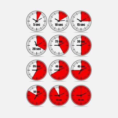 Red vector illustration, increments from 5 to 60 seconds, one minutes or 5 seconds interval, 4 rows and 3 columns on white background, for business or education. Watches in flat design. Watches set 2.