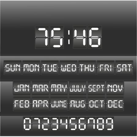 Analog black scoreboard digital timer. Vector illustration