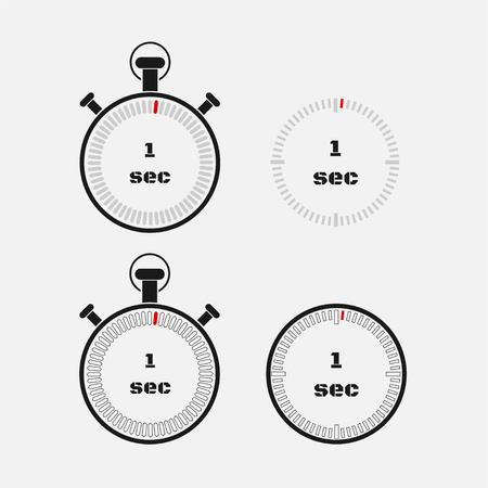 Timer 1 seconds on gray background . Stopwatch icon set. Timer icon. Time check. Seconds timer, seconds counter. Timing device. Four options.  vector.
