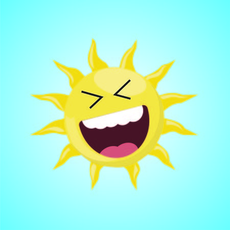 Yellow roar with laughter symbol of the sun. Vector illustration, isolated on blue background. LOL symbol. Cute icon of the sun. Vector graphic illustration Illustration