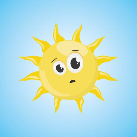 Yellow frightened cartoon sun symbol. Vector illustration, isolated on blue background. Cute icon of the sun. Vector graphic illustration