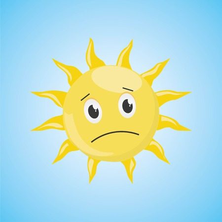 Yellow sad cartoon sun symbol. Vector illustration, isolated on blue background. Cute icon of the sun. Vector graphic illustration  イラスト・ベクター素材