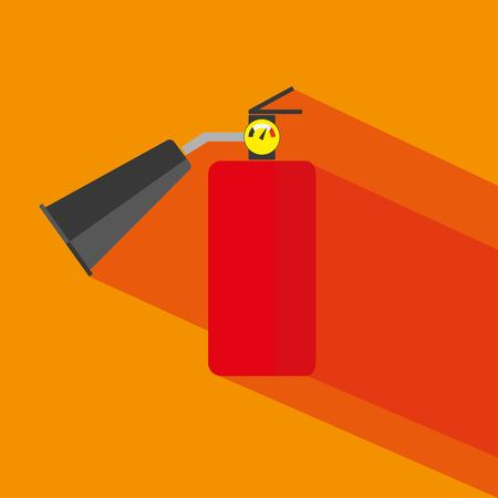 Fire extinguisher flat vector icon with long shadow on orange background. Vector illustration