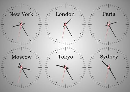 Wall clocks from the reception of the hotel showing the time of the world. Time of New York, London, Moscow, Sydney, Tokyo and Paris. Illustration