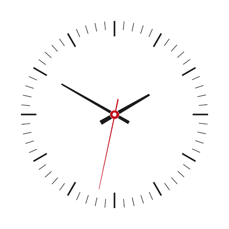 Clock with arrows no numbers isolated on a white background. Vector illustration