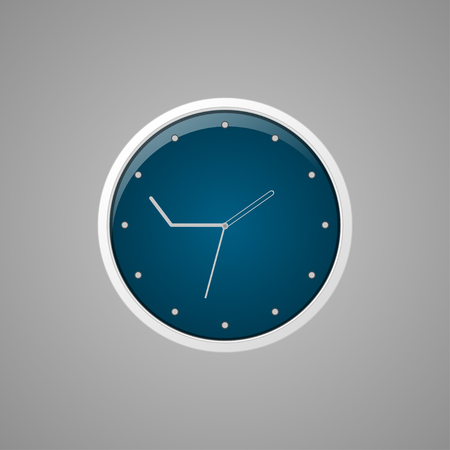 Clock for people who are always late isolated on a gray background. Vector illustration Ilustração