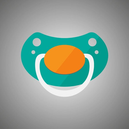 Baby pacifier turquoise flat vector illustration isolated. Vector illustration