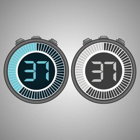 Electronic Digital Stopwatch. Timer 37 seconds isolated on gray background. Stopwatch icon set. Timer icon. Time check. Seconds timer, seconds counter. Timing device. Two options.