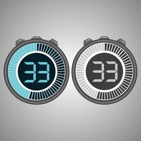 Electronic Digital Stopwatch. Timer 33 seconds isolated on gray background. Stopwatch icon set. Timer icon. Time check. Seconds timer, seconds counter. Timing device. Two options.