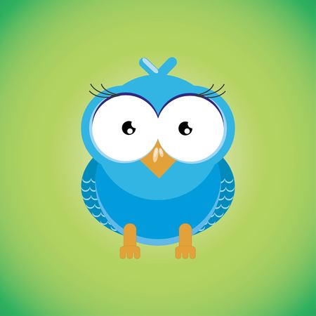 Owl flat style vector. Wild night predatory bird. World fauna species. Eagle-owl cartoon character. For nature concepts, childrens books illustrating, printing materials. Isolated on green background. Vector illustration EPS 10.
