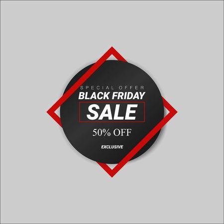 Black Friday sale inscription design template. Special offer, sale 50 off. Exclusive sale. Vector illustration EPS 10.