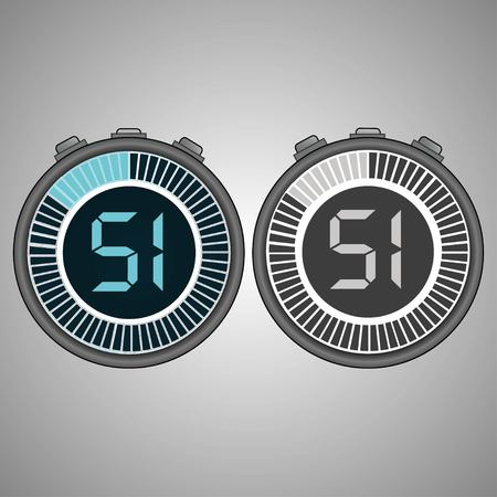 Electronic Digital Stopwatch. Timer 51 seconds isolated on gray background. Stopwatch icon set. Timer icon. Time check. Seconds timer, seconds counter. Timing device. Two options. EPS 10 vector.