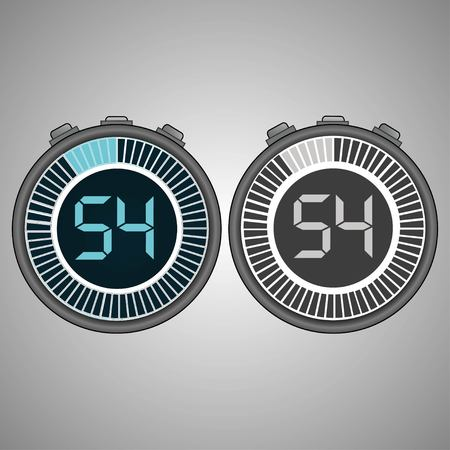 Electronic Digital Stopwatch. Timer 54 seconds isolated on gray background. Stopwatch icon set. Timer icon. Time check. Seconds timer, seconds counter. Timing device. Two options. EPS 10 vector.