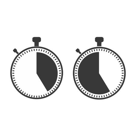 The 25 seconds, minutes stopwatch icon on white background. Clock and watch, timer, countdown symbol. Web, Logo, Sign, App. Flat design Vector illustration EPS 10 Illustration