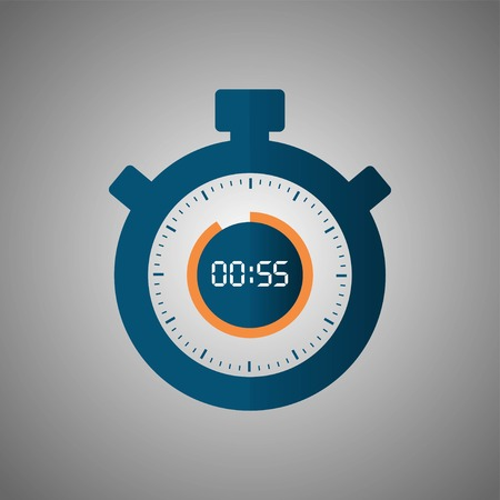 Stopwatch icon in flat style, timer on gray background. Sport clock. Vector design element for you project. Stopwatch 55 seconds. Vector illustration EPS 10. Illustration
