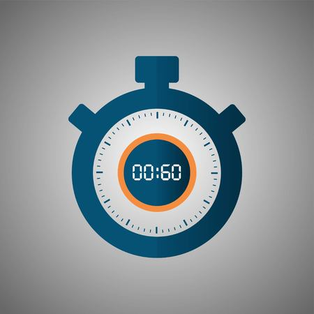 Stopwatch icon in flat style, timer on gray background. Sport clock. Vector design element for you project. Stopwatch 60 seconds. Vector illustration EPS 10.