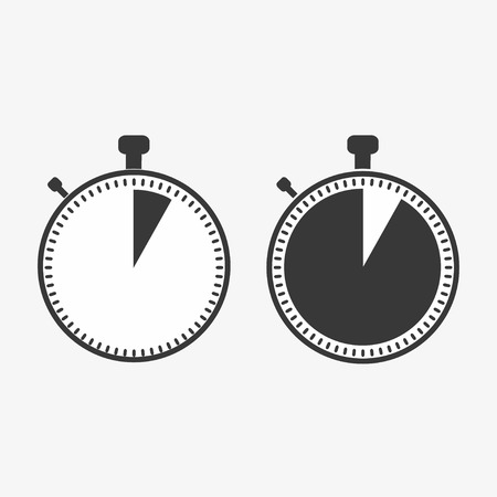 The 5 seconds, minutes stopwatch icon on white background. Clock and watch, timer, countdown symbol. Web, Logo, Sign, App. Flat design Vector illustration EPS 10