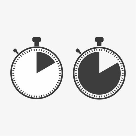 The 10 seconds, minutes stopwatch icon on white background. Clock and watch, timer, countdown symbol. Web, Logo, Sign, App. Flat design Vector illustration EPS 10 Illustration