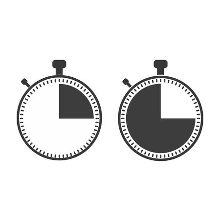 The 15 seconds, minutes stopwatch icon on white background. Clock and watch, timer, countdown symbol. Web, Logo, Sign, App. Flat design Vector illustration EPS 10