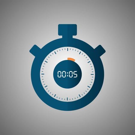 Stopwatch icon in flat style, timer on gray background. Sport clock. Vector design element for you project. Stopwatch 5 seconds. Vector illustration EPS 10.