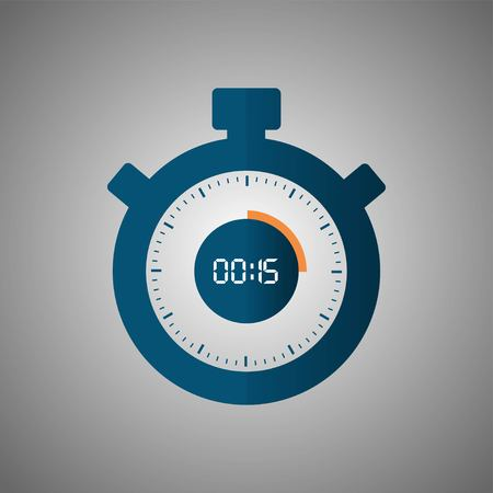 Stopwatch icon in flat style, timer on gray background. Sport clock. Vector design element for you project. Stopwatch 15 seconds. Vector illustration EPS 10.