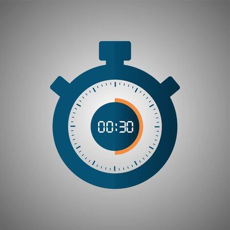 Icona del cronometro in stile piano, timer su sfondo grigio. Orologio sportivo. Elemento di disegno vettoriale per il tuo progetto. Cronometro 30 secondi. Illustrazione vettoriale EPS 10. Vettoriali