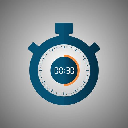 Stopwatch icon in flat style, timer on gray background. Sport clock. Vector design element for you project. Stopwatch 30 seconds. Vector illustration EPS 10. 向量圖像
