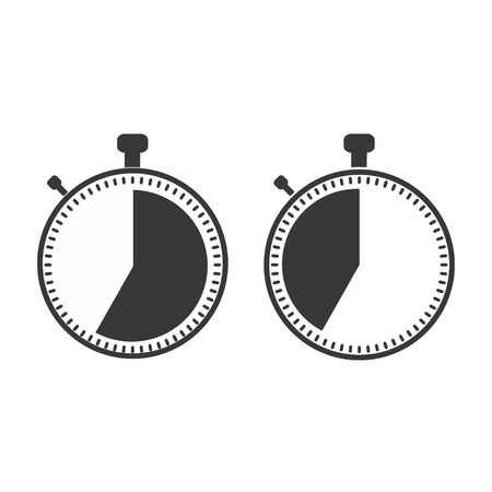 The 35 seconds, minutes stopwatch icon on white background. Clock and watch, timer, countdown symbol. Web, Logo, Sign, App. Flat design Vector illustration EPS 10