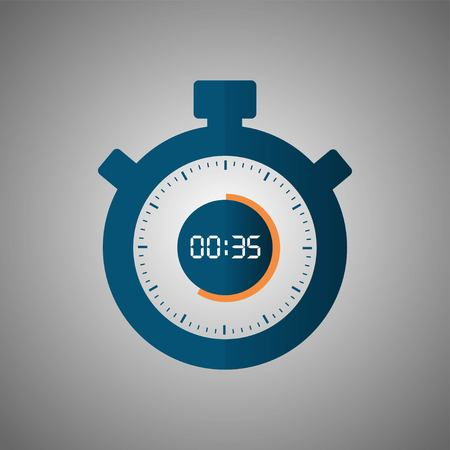 Stopwatch icon in flat style, timer on gray background. Sport clock. Vector design element for you project. Stopwatch 35 seconds. Vector illustration EPS 10.