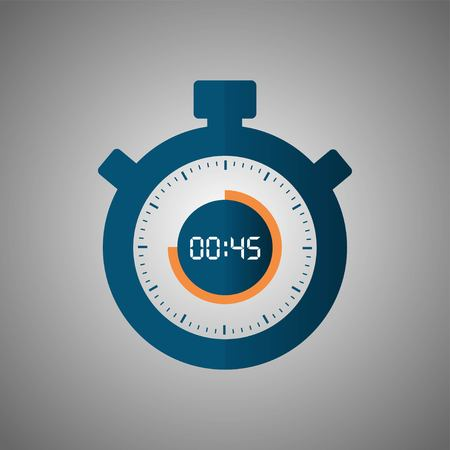 Stopwatch icon in flat style, timer on gray background. Sport clock. Vector design element for you project. Stopwatch 45 seconds. Vector illustration EPS 10. Illustration