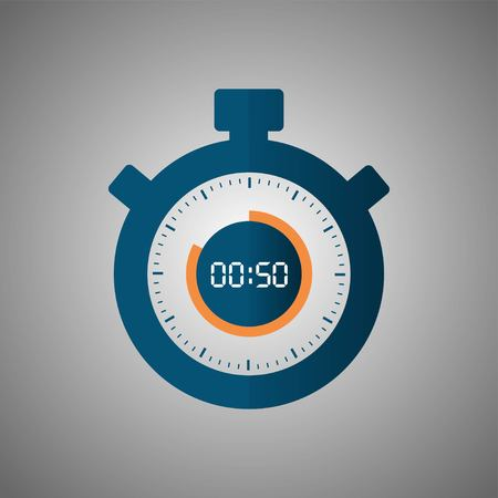 Stopwatch icon in flat style, timer on gray background. Sport clock. Vector design element for you project. Stopwatch 50 seconds. Vector illustration EPS 10. Illustration