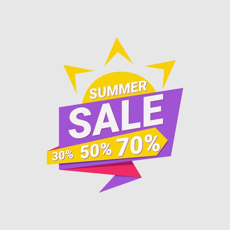Summer sale banner and poster design. Thirty fifty, seventy percent. Vector illustratiom EPS 10. Banque d'images - 112116099