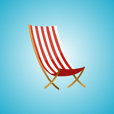 Beach chairs isolated on blue background. Summer vacation, beach party realistic 3d objects isolated. Vector illustration EPS 10.